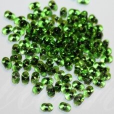 pccb321/90001/02061-2/4 2 x 4 mm, farfalle shape, transparent, green color, middle black color, about 50 g.