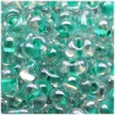 pccb321/90001/38658-3.2/6.5 3.2 x 6.5 mm, farfalle forma, skaidrus, viduriukas žalia spalva, apie 50 g.