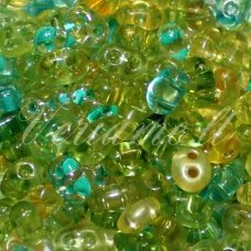 pccb321/96001/mix11-2.5 x 3 x 5 mm, twin shape, light green color, mix, about 20 g.