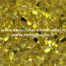 PCCB331/29001/00266-10/0 2.2 - 2.4 mm, apvali forma, kvadratinė skylė, viduriukas su folija, skaidrus, geltona spalva, apie 50 g.