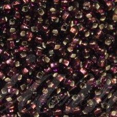 pccb331/29001/27060-11/0 2.0 - 2.2 mm, apvali forma, skaidrus, violetinė spalva, kvadratinė skylė, viduriukas su folija, apie 50 g.