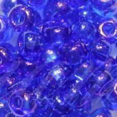 PCCB331/29001/31080-02/0 5.8 - 6.3 mm, apvali forma, skaidrus, mėlyna spalva, AB danga, viduriukas, kvadrato forma, apie 50 g.