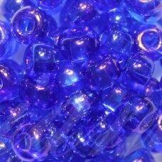 pccb29001/31080-10/0 2.2 - 2.4 mm, apvali forma, skaidrus, mėlyna spalva, ab danga, kvadratinė skylė, apie 50 g.