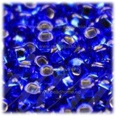 pccb29001/37050-06/0 3.7 - 4.3 mm, apvali forma, mėlyna spalva, viduriukas su folija, kvadratinė skylė, apie 50 g.
