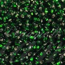 pccb331/29001/57060-11/0 2.0 - 2.2 mm, apvali forma, skaidrus, žalia spalva, kvadratinė skylė, viduriukas su folija, apie 50 g.