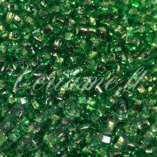 pccb29001/57100-06/0 3.7 - 4.3 mm, apvali forma, skaidrus, žalia spalva, kvadratinė skylė, viduriukas su folija, apie 50 g.