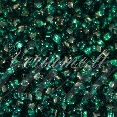 pccb331/29001/57710-08/0 2.8 - 3.2 mm, apvali forma, skaidrus, žalia spalva, kvadratinė skylė, viduriukas su folija, apie 50 g.