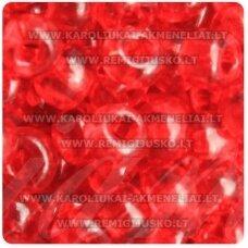 pccb331/29001/90070-11/0 2.0 - 2.2 mm, apvali forma, skaidrus, raudona spalva, kvadratinė skylė, apie 50 g.
