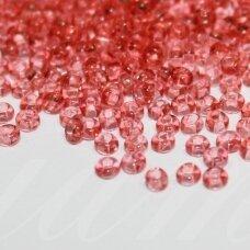 pccb29001/01693-10/0 2.2 - 2.4 mm, apvali forma, skaidrus, tamsi, rožinė spalva, kvadratinė skylė, apie 50 g.