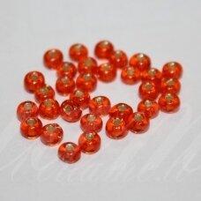 pccb331/29001/97030-06/0 3.7 - 4.3 mm, apvali forma, skaidrus, oranžinė spalva, kvadratinė skylė, viduriukas su folija, apie 50 g.