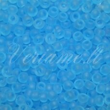 pccb39001/60000-10/0 2.2 - 2.4 mm, apvali forma, matinė, skaidrus, mėlyna spalva, apie 50 g.