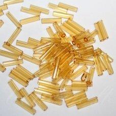 """pccb351/12001/10050-4"""" 9 x 2 mm, pailga forma, skaidrus, gintaro spalva, apie 50 g."""