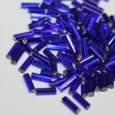 """pccb12001/37100-3"""" 6.5 x 2 mm, pailga forma, skaidrus, tamsi, mėlyna spalva, kvadratinė skylė, viduriukas su folija, apie 50 g."""