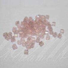 PCCB351/31001/07112-11/0 1.7 x 1.9 mm, pailga forma, skaidrus, šviesi, rožinė spalva, AB danga, apie 50 g.