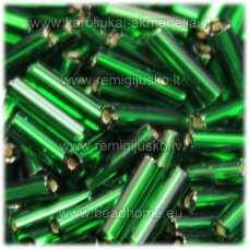 pccb351/31001/57060-11/0 1.7 x 1.9 mm, pailga forma, žalia spalva, viduriukas su folija, apie 50 g.