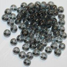 pccb40010-12/0 1.8 - 2.0 mm, apvali forma, skaidrus, juoda spalva, apie 50 g.