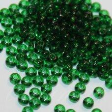 pccb50060-14/0 1.5 - 1.6 mm, apvali forma, skaidrus, žalia spalva, apie 50 g.