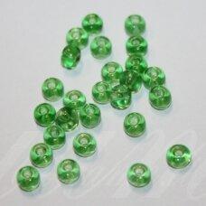 pccb50100-13/0 1.6 - 1.8 mm, apvali forma, skaidrus, žalia spalva, apie 50 g.