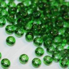 pccb50120-15/0 1.4 - 1.5 mm, apvali forma, skaidrus, žalia spalva, apie 50 g.