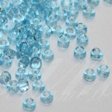 pccb60000-15/0 1.4 - 1.5 mm, apvali forma, skaidrus, žydra spalva, apie 50 g.