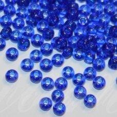 pccb60300-13/0 1.6 - 1.8 mm, apvali forma, skaidrus, tamsi, mėlyna spalva, apie 50 g.
