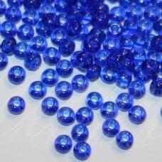 pccb60300-15/0 1.4 - 1.5 mm, apvali forma, skaidrus, tamsi, mėlyna spalva, apie 50 g.