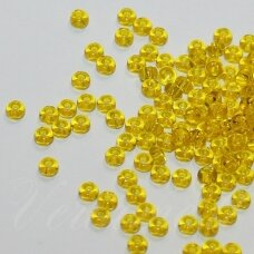 pccb80010-33/0 8 mm, apvali forma, skaidrus, geltona spalva, apie 50 g.