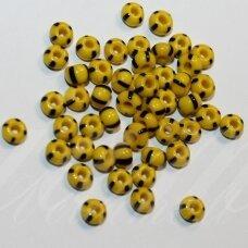 pccb83500-10/0 2.2 - 2.4 mm, apvali forma, geltona spalva, dryžuoti, juoda spalva, apie 50 g.