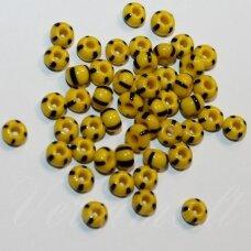 pccb83500-31/0 7 mm, apvali forma, geltona spalva, dryžuoti, juoda spalva, apie 50 g.