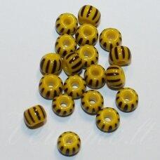 pccb83501-31/0 7 mm, apvali forma, geltona spalva, dryžuoti, juoda spalva, apie 50 g.