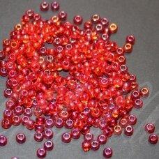 pccb91050-09/0 2.4 - 2.8 mm, apvali forma, skaidrus, raudona spalva, ab danga, apie 50 g.