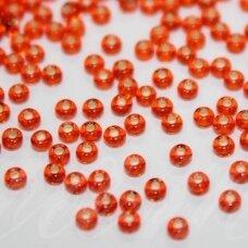 pccb97030-10/0 2.2 - 2.4 mm, apvali forma, šviesi, oranžinė spalva, viduriukas su folija, apie 50 g.