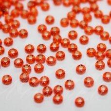 pccb97030-11/0 2.0 - 2.2 mm, apvali forma, šviesi, oranžinė spalva, viduriukas su folija, apie 50 g.