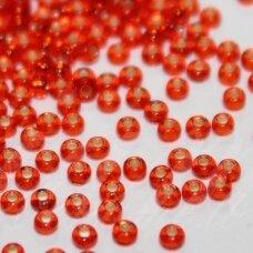 pccb97050-11/0 2.0 - 2.2 mm, apvali forma, oranžinė spalva, viduriukas su folija, apie 50 g.