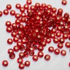 pccb97070-10/0 2.2 - 2.4 mm, apvali forma, skaidrus, raudona spalva, viduriukas su folija, apie 50 g.
