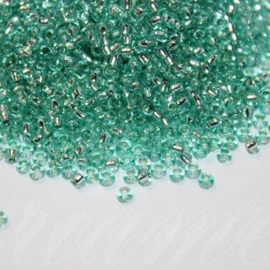 PCCB78164-10/0 2.2 - 2.4 mm, apvali forma, skaidrus, šviesi žalia spalvam viduriukas su folija, apie 50 g.