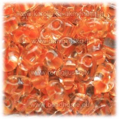 PCCB321/96001/38992-2.5 x 3 x 5 mm, twin forma, skaidrus, viduriukas, oranžinė spalva, apie 50 g.