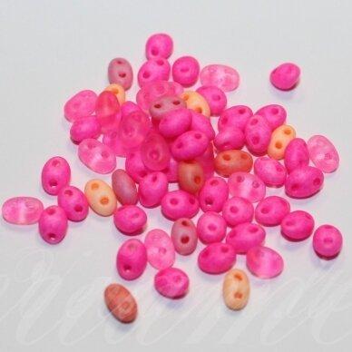 PCCB321/96001/mix45-2.5 x 3 x 5 mm, twin forma, rožinė spalva, mišinys, apie 20 g.