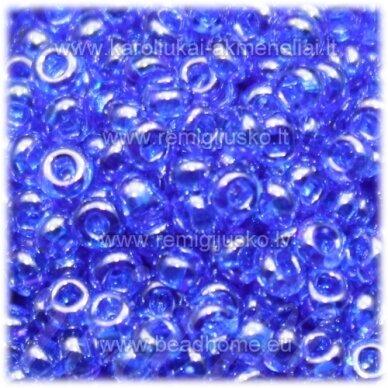 pccb331/29001/36050-11/0 2.0 - 2.2 mm, apvali forma, blizgi danga, mėlyna spalva, kvadratinė skylė, apie 50 g.