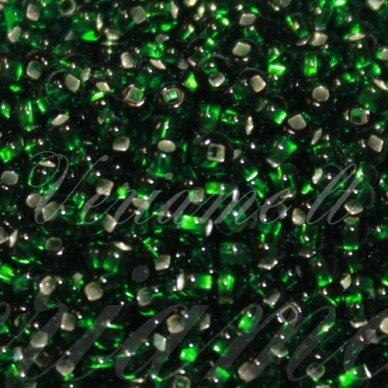 pccb331/29001/57060-09/0 2.4 - 2.8 mm, apvali forma, skaidrus, žalia spalva, kvadratinė skylė, viduriukas su folija, apie 50 g.