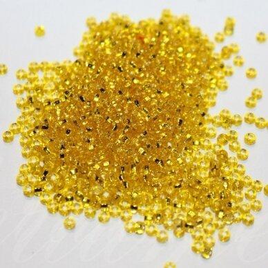 PCCB331/29001/87010-14/0 1.5 - 1.6 mm, apvali forma, skaidrus, geltona spalva, kvadratinė skylė, viduriukas su folija, apie 50 g.