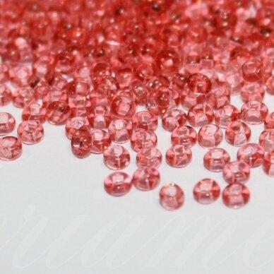 pccb29001/01693-10/0 2.2 - 2.4 mm, apvali forma, skaidrus, tamsi, rožinė spalva, kvadratinė skylė, apie 50 g. / x 3 pakeliai = apie 150 g.