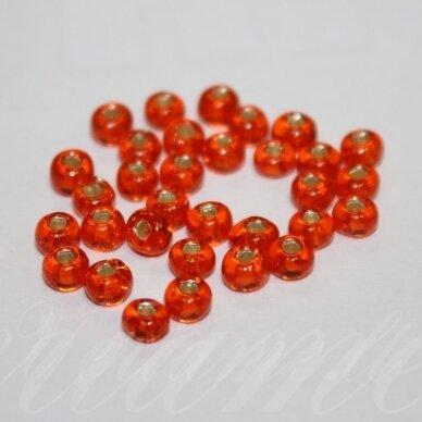 pccb331/29001/97030-05/0 4.3 - 4.8 mm, apvali forma, oranžinė spalva, kvadratinė skylė, viduriukas su folija, apie 50 g.