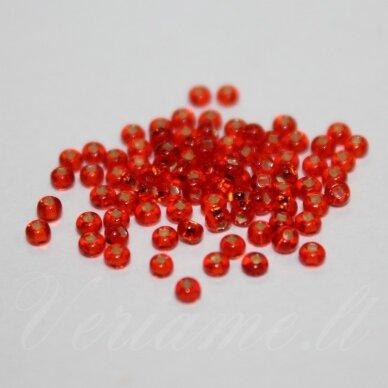 pccb331/29001/97050-11/0 2.0 - 2.2 mm, apvali forma, skaidrus, oranžinė spalva, kvadratinė skylė, viduriukas su folija, apie 50 g.