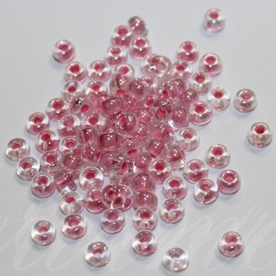 PCCB38694-06/0 3.7 - 4.3 mm, apvali forma, skaidrus, viduriukas, rožinė spalva, apie 50 g.