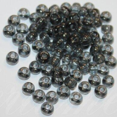 pccb40010-15/0 1.4 - 1.5 mm, apvali forma, skaidrus, juoda spalva, apie 50 g.