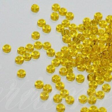 pccb80010-12/0 1.8 - 2.0 mm, apvali forma, skaidrus, geltona spalva, apie 50 g.
