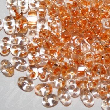 pccb96001/38992-2.5 x 3 x 5 mm, twin forma, skaidrus, viduriukas oranžinė spalva, apie 20 g.