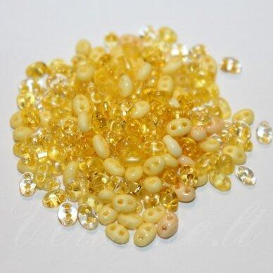 PCCB96001/mix55-2.5 x 3 x 5 mm, twin forma, geltona spalva, mišinys, apie 50 g.