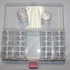 PD0010 apie 190 x 90 x 35 mm, plastikinė dėžutė, tarpusavyje užsukami indeliai, 1 vnt.